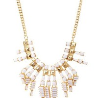 Gold Studded Faceted Stone Bib Necklace by Charlotte Russe