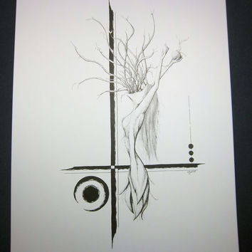 WITH ABANDON: Original artwork in pen and ink, surreal pen drawing, black and white illustration, 9x12