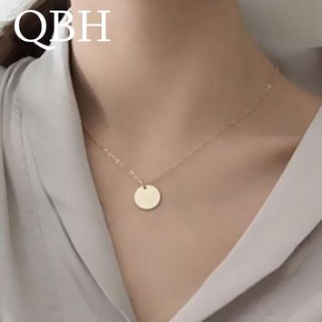 NK1081 New Fashion Punk Round Coin Pendant Necklaces Women Chain Clavicle Collares Jewelry Bijoux Minimalist Mujer ras de cou