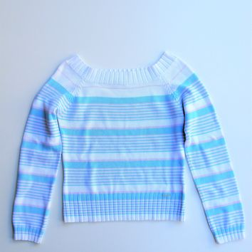 Pietro Filipi Sport Pastel Stripe Boat Neck Sweater S