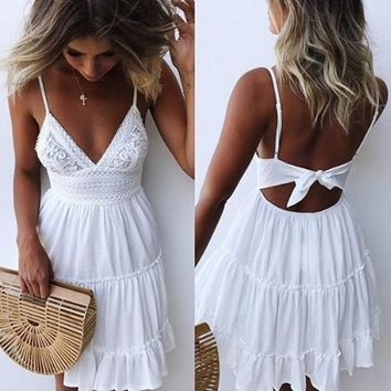 Girls White Summer Dress Spaghetti Strap Bow Dresses Sexy Women V-neck Sleeveless Beach Backless Lace Patchwork Mini Dress
