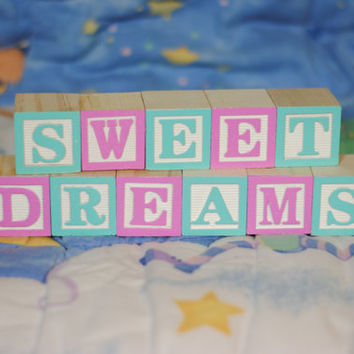 SWEET DREAMS (11 Blocks), Wooden Blocks, Custom Wooden Sign, Nursery Blocks, Painted Blocks, Alphabet Blocks