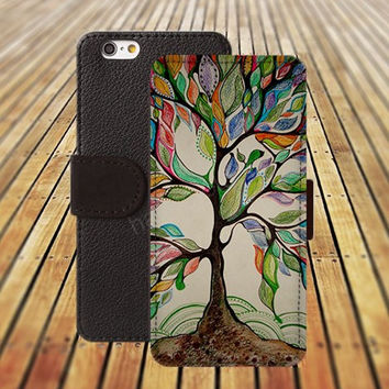 love trees life tree iphone 5/ 5s iphone 4/ 4s iPhone 6 6 Plus iphone 5C Wallet Case , iPhone 5 Case, Cover, Cases colorful pattern L026