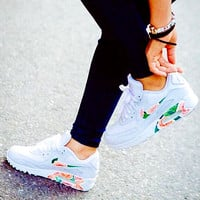 NIKE Women Men Casual Running Sport Shoes Sneakers white floral print H-CSXY