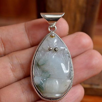 925 Sterling Silver Bali Handmade Rabbit 52mm Hand Carved Jade Gemstone Pendant