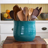 Extra Large Kitchen Utensil Holder - Custom Color Choices - Dark Teal - Hand Thrown Vase - Modern Home Decor - MADE TO ORDER