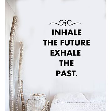 Vinyl Wall Decal Om Relax Quote Inhale Exhale Meditation Studio Stickers Mural (g2674)