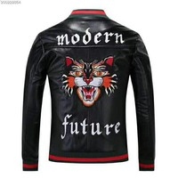 GUCCI new embroidered tiger head men's PU leather zipper cardigan jacket