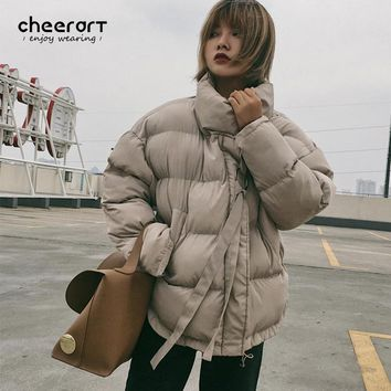 Cheerart 2017 Winter Coat Women Down Jacket Stand Collar Anorak Thick Windbreaker Female Zipper Quilted Coat Femme Korean Style