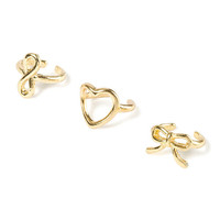 Bow, Heart and Infinity Symbol Ear Cuffs Set of 3