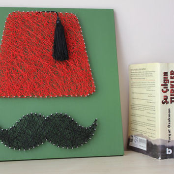 Fez and Mustache Nail String Wall Art ~ Dr Who Hat, Red Fez , Black Mustache