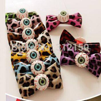 1piece Free Shipping zipper bowknot leopard print hairpin headband side-knotted clip hair pin hair rope Eyes Hair Clip