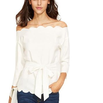 SheIn Womens Elegant Blouses and Tops For Autumn Ladies White Belted Scallop Trim Long Sleeve Off The Shoulder Blouse