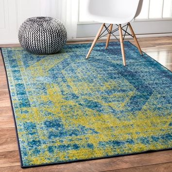 nuLOOM Traditional Vintage Inspired Overdyed Blue Rug (5' x 8') | Overstock.com Shopping - The Best Deals on 5x8 - 6x9 Rugs