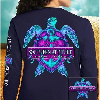 Country Life Outfitters Southern Attitude Snappy Turtle Anchor Bow Navy Vintage Girlie Bright Long Sleeve T Shirt
