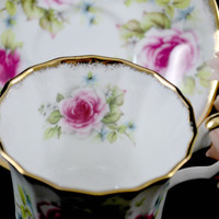 Pink Tea Cup and Saucer , Fine Porcelain Tea Set , England