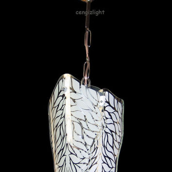 Hand Painted Silk Screen Glass Hanging Ceiling Light Decorative Chandelier Pendant Lamp