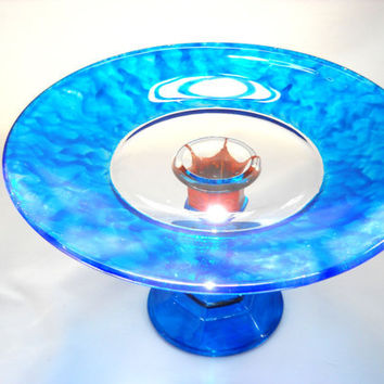 Desert Stand Hand Painted Glass Pedestal Plate Blue, Art on Glass