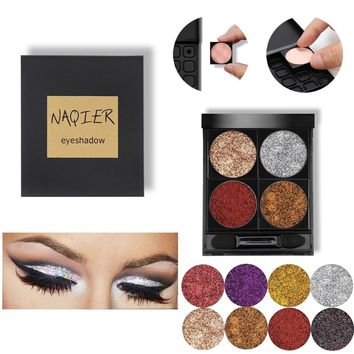 NAQIER Custom Diamond Glitter powder Eye shadow Waterproof Shimmer Eyeshadow Palette Metallic Eyes Shadows Makeup