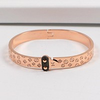 LV Louis Vuitton Popular Women Men Monogram Stainless Steel Lovers Bracelet Jewelry Rose Golden I-HLYS-SP