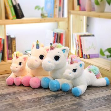 40cm 60cm Unicorn Plush Toy Cute Animal Tissue Cover Box Soft Stuffed Plush Dolls KidsToy Kawaii Figure Fluffy Gift For Children