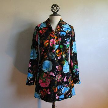 Abstract 70s Cosmic Psychedelic Tunic Vintage Black Blue Boho Chic Butterfly Collar Jersey Knit 1970s Womens Top Medium
