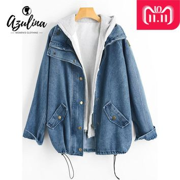 Trendy AZULINA Button Up Hooded Denim Jacket Women Coat 2018 Autumn Winter Jeans Jackets Female Casual Outwear Wide-Waisted Long Tops AT_94_13