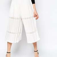 ASOS Premium Pleated Culottes with Sheer Inserts
