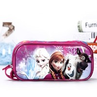 Cute school pencil case for girls cartoon Anna Elsa big capacity double zipper pencil bag stationery pouch escolar school supply