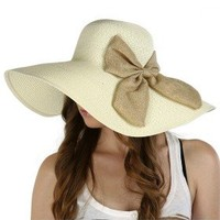 Luxury Lane Women's Beige Large Bow Floppy Sun Hat