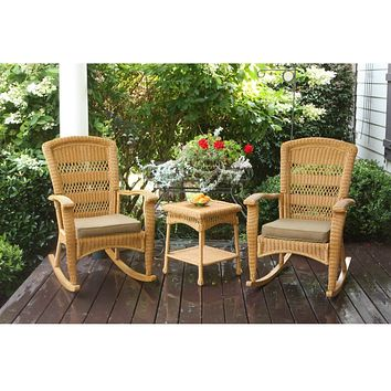 3-Piece Outdoor Porch Rocker Set w/ 2 Amber Wicker Resin Rocking Chairs & Table
