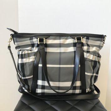Burberry Black/Grey Check Nylon Diaper Bag