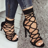 Women Shoes Sandals Ankle Strap Gladiator High Heels Lace Up Strappy Open Toe