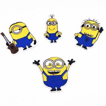 10PCS Embroidered Patches Cartoon Minions Sewing on Patches For Girls Boys Iron On Patches Clothes Garment Accessories