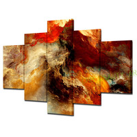 Unframed 5 Panel Canvas Painting Abstract 3D Graphics Psychedelic Nebula Space Print On Canvas Wall Pictures For Living Room