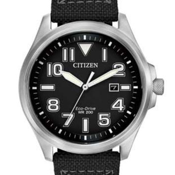 Citizen Eco-Drive Mens Military Sports Watch - Black Dial - Stainless Steel Case