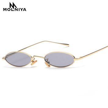 MOLNIYA 2018 Small Oval Sunglasses For Men Male Retro Metal Frame Yellow Red Vintage Small Round Sun Glasses for Women New