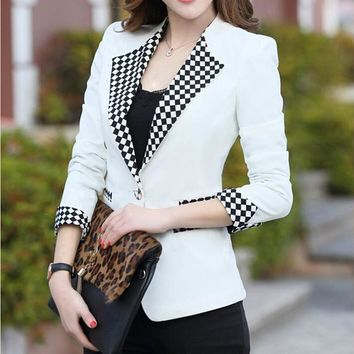 2017 Spring New Authentic Korean The Candy Color Blazer Women Slim Shrug Female Suit Jacket Blaser Feminino G129