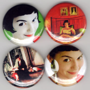 Amelie - Set of 4 - Le Fabuleux Destin d'Amélie Poulain French Film Comedy Buttons Pins Badges Pinback