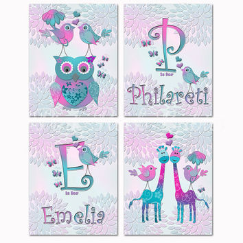 Twins nursery wall art girl room decor custom baby name kids decoration siblings artwork owl giraffe initial poster teal turquoise purple