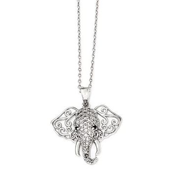 Cheryl M Sterling Silver Black & White CZ Filigree Elephant Necklace