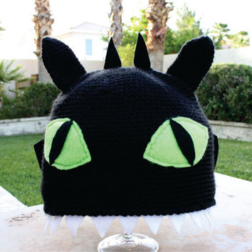 Toothless the Night Fury Black Dragon With Wings and Teeth Inspired Hat: How to Train Your Dragon -ish Cartoon Kawaii Crochet Beanie Hat