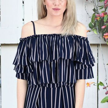 Off Shoulder Striped + Ruffled Crop Top {Navy}