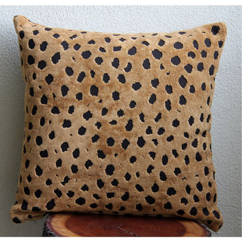 Wild Leopard Spots - Throw Pillow Covers - 16x16 Inches Terry Towel with Birnout Pattern