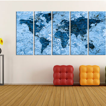 Push Pin world map wall art canvas print, world map push pin with countries No:6S10