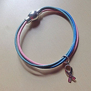 Magnetic Teal, Pink, & Blue Thyroid Awareness Bracelet-Thyroid Cancer-Disease-Survivor-Hope Ribbon-Cross Charm-Heart Charm