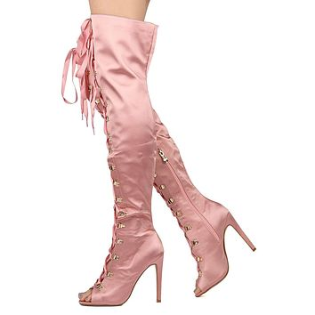 Cape Pink Satin Lace up Front Open Toe OTK Thigh Boot High Heel