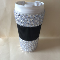 Clear Rhinestone Black Grip To Go Coffee Mug/ Thermos