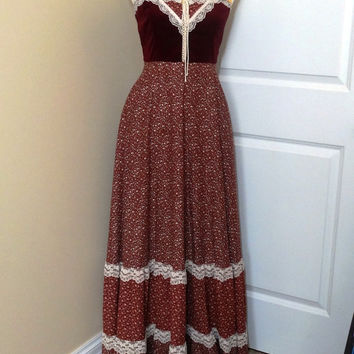 Vintage 1970s Gunne Sax Maxi Dress by Jessica of San Francisco with Burgandy Velvet Laced Bodice, Calico Fabric & Lace