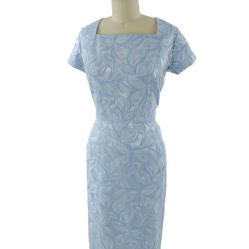50s Powder Blue Satin Damask Cocktail Dress